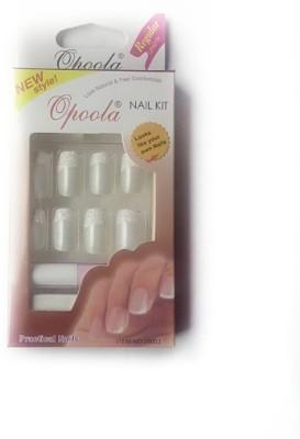 OPOOLA GROOM FRENCH GLUE ON NAILS 24PCS WHITE GLITTER