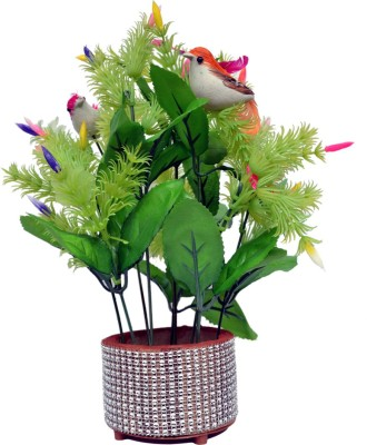 Yash Enterprises Beautiful flower basket with Birds Bonsai Artificial Plant  with Pot