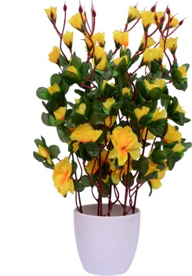 Yash Enterprises Chinese Rose Yellow Bonsai Artificial Plant  with Pot