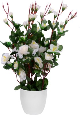 Yash Enterprises Chinese Rose White Bonsai Artificial Plant  with Pot