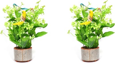 Yash Enterprises Small Bird (Combo of 2) Artificial Plant  with Pot