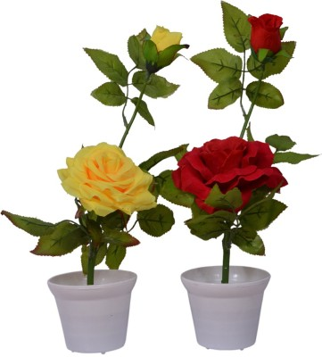 Yash Enterprises Combo Yellow and red Rose(30 cm) Artificial Plant  with Pot