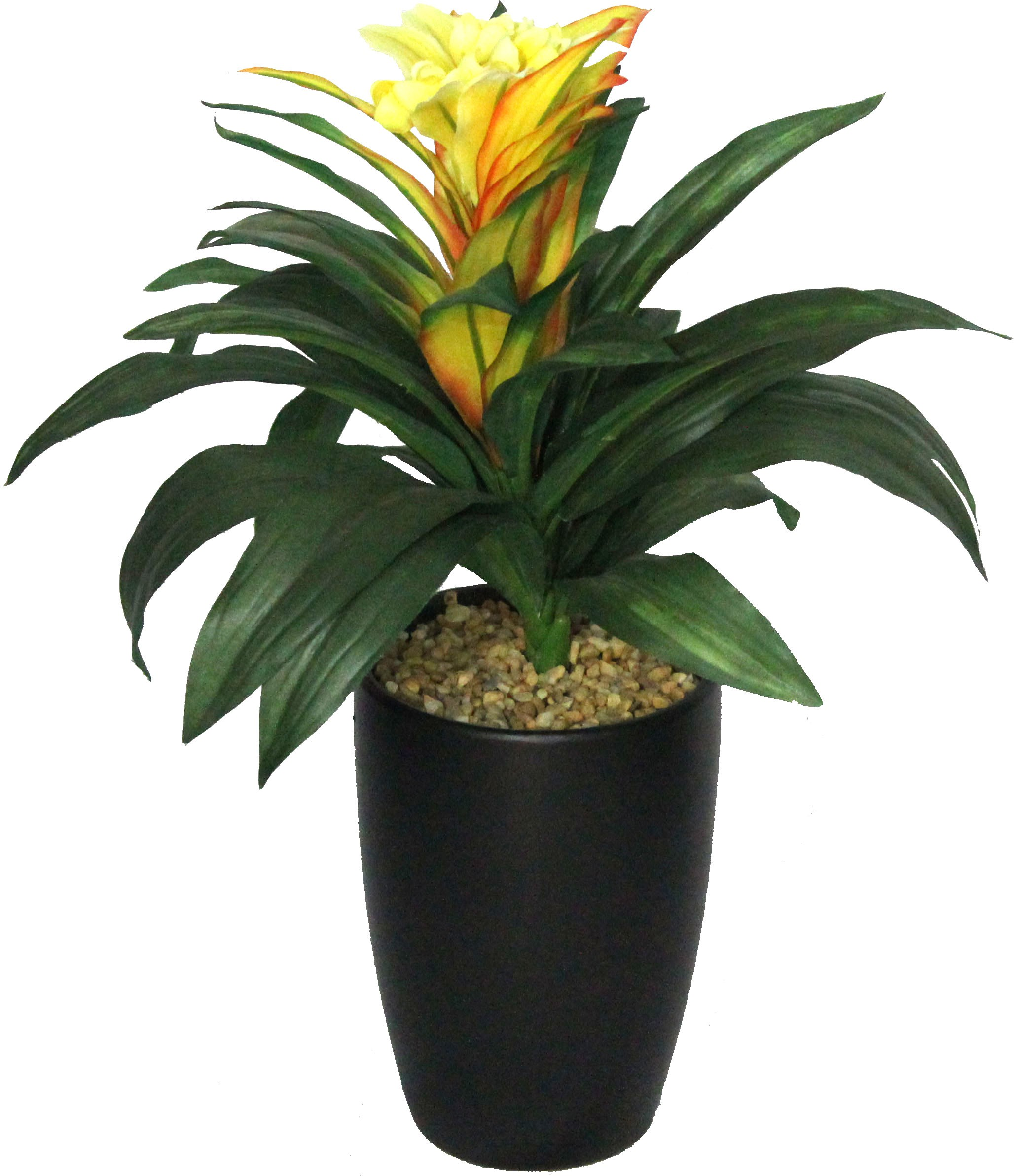PolliNation Yellow Guzmania With Pot Artificial Plant  with Pot