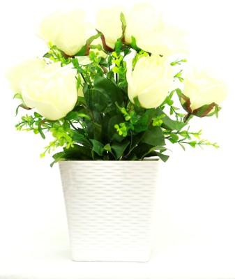 Bengal Blooms Rose Artificial Plant with Pot(30 cm, Multicolor)