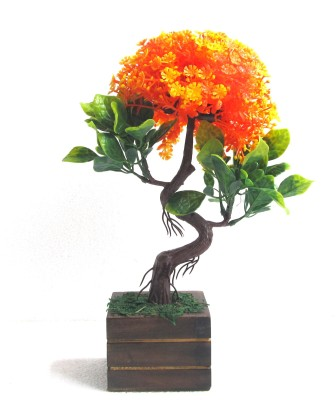 Miracle Retail S Shape Bonsai Wild Artificial Plant  with Pot