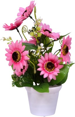 Yash Enterprises Pink Sunflower(27 cm) Artificial Plant  with Pot