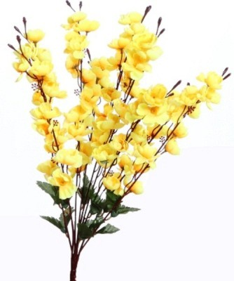 Yash Enterprises Yellow Cherry Blossom 12 Stems Artificial Plant