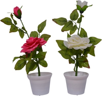 Yash Enterprises Combo Pink and White Rose(30 cm) Artificial Plant  with Pot