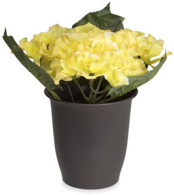 @home Hydrangea Artificial Plant  with Pot(18 cm, Yellow)