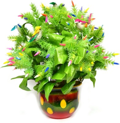 Yash Enterprises Flower Asket With Birds And Almond Shaped Beads Bonsai Artificial Plant  with Pot