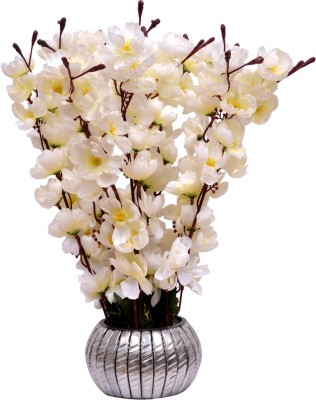 Yash Enterprises White Cherry Blossom Bonsai Artificial Plant  with Pot