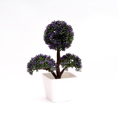 Yash Enterprises Purple Ball Bonsai Artificial Plant  with Pot