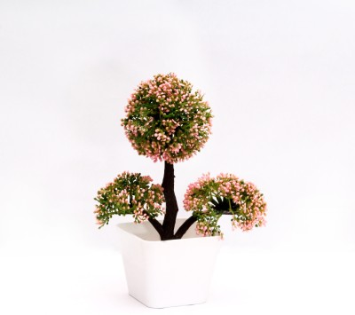 Yash Enterprises Pink Ball Bonsai Artificial Plant  with Pot
