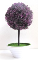 Miracle Retail Bonsai Wild Artificial Plant  with Pot(25 cm, Purple)