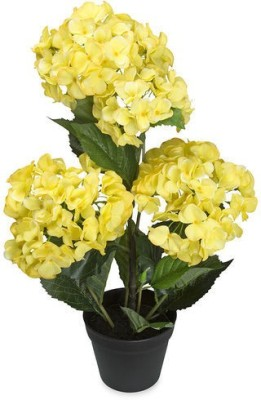 @home Hydrangea Artificial Plant  with Pot(60 cm, Yellow)
