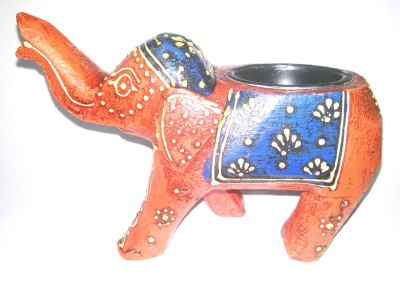 Seema's Craft Creation Antique looking Ash Tray Elephant Multicolor Wooden Ashtray(Pack of 1)