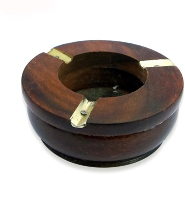 R S Jewels Premium Quality Antique Brown Wooden, Brass Ashtray