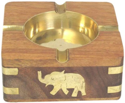 Home Sparkle Brown Wooden, Brass Ashtray