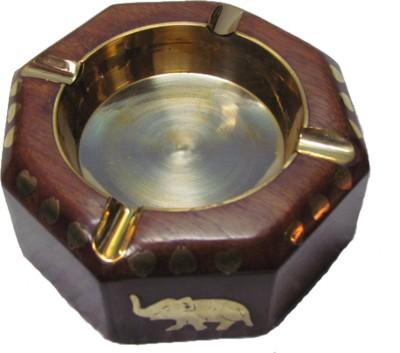 S C Handicrafts Brown, Gold Wooden, Brass Ashtray