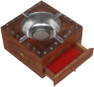 Shopnline Brown Wooden Ashtray