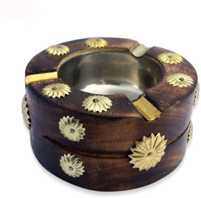 R S Jewels Brass Hand Carved With Brass Inlay Work Brown Wooden, Brass Ashtray