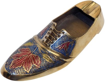 Crafts,man Vintage Style Antique Looking Shoe Shape Mixed Color Multicolor Brass Ashtray(Pack of 1)