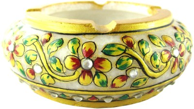 Chave Marble Ashtray with Real Gold Painting of Rajasthan Multicolor Marble Ashtray(Pack of 1)