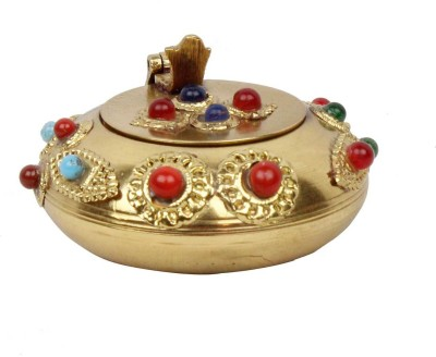 Little Jaipur Gemstone Ash Tray Handicraft Gift Gold Brass Ashtray(Pack of 1)