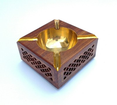 TimberKart Jali Work Handicraft, Brown Wooden, Brass Ashtray(Pack of 1)