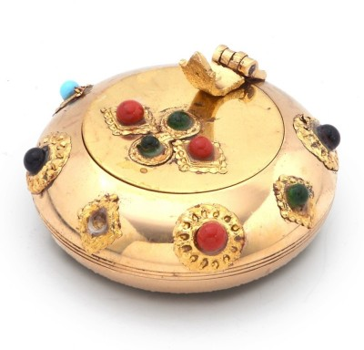 Creative Handicraft Home Decorative Gemstone Ash Tray Gift Gold Brass Ashtray(Pack of 1)