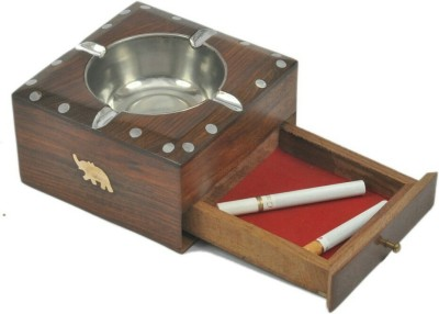 HANDICRAFT SHEESHAM WOOD MADE ASH TRAY WITH A DRAWER TO PUT MATCHSTICK IN IT Brown Wooden Ashtray(Pack of 1)