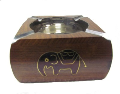 S C Handicrafts Brown, Steel Wooden, Steel Ashtray