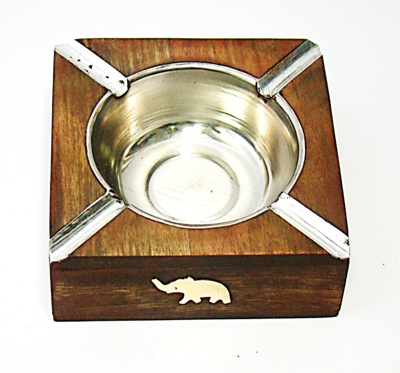 Craftsmen Elephant Inlay Work Sheesham Medium Brown Wooden Ashtray(Pack of 1)