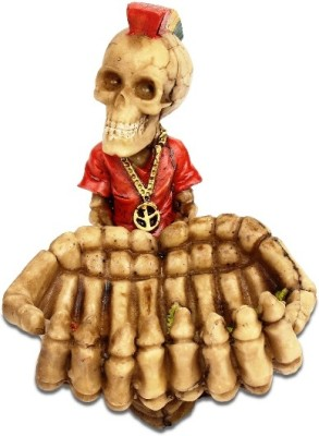 Taino Big Hands Skull Ashtray Red, Yellow Polyresin Ashtray