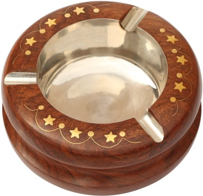 Woodsmith Round-Shaped Brown Wooden, Stainless Steel Ashtray