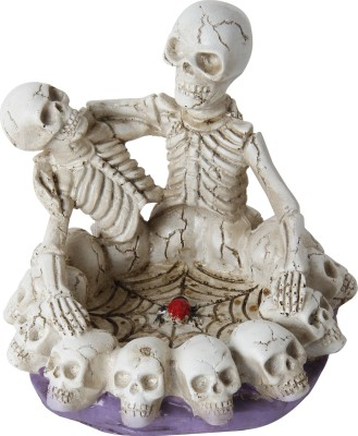 Taino 2 Skeleton-Halloween Style Skull White Polyresin Ashtray