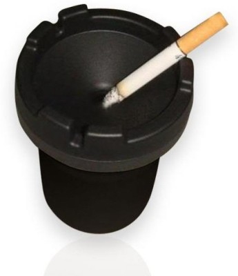 Speedwav Fits in Glass Holder Black Plastic Ashtray(Pack of 1)