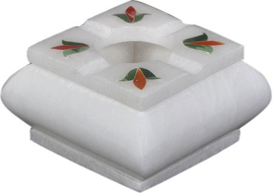 Mne Marble Ashtray Flowers Inlay White Marble Ashtray(Pack of 1)