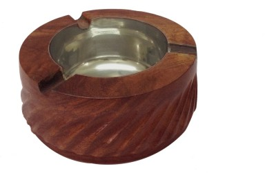 Craft Art India Decorative Wooden Table Top for Cigarette / Cigar etc. Brown Wooden Ashtray