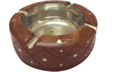 Craft Art India Home Decor Decorative Wooden Table Top for Cigarette / Cigar etc. Brown Wooden Ashtray