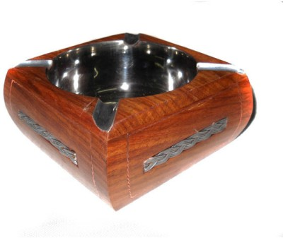 Crafts Paradise Silver color Strip Design Multicolor Wooden Ashtray