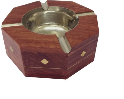 Craft Art India Handcrafted Decorative Wooden Table Top for Cigarette / Cigar etc. Brown Wooden Ashtray