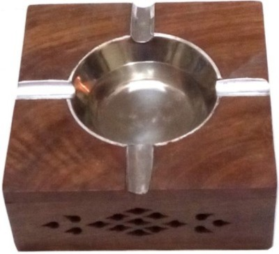 Crafts World Brown Wooden Ashtray