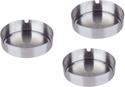 Sssilverware SS-ASH-SET-03 pcs Silver Stainless Steel Ashtray