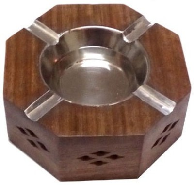 Afordia Wooden Ashtray Brown, Steel Wooden Ashtray