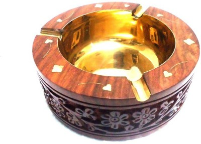 Desi Karigar Brown, Gold Wooden Ashtray