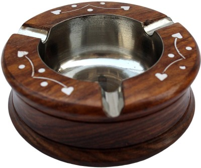 Desi Karigar Brown, Steel Wooden Ashtray(Pack of 1)