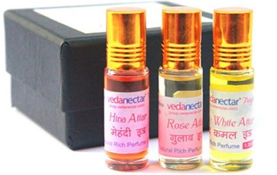 Vedanectar Rose, Hina and Lotus White Attar - 5ml each Herbal Attar
