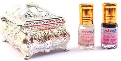 Vedanectar Oudh Rose Attar and Mix Flower Attar 3ml each in Silver Box Herbal Attar