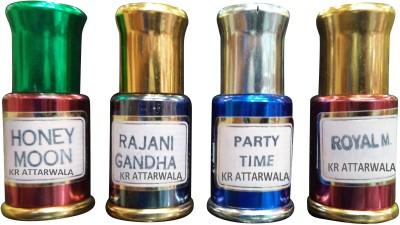 Kr Attarwala Honeymoon Attar, Rajnigandha Attar, Party-Time Attar and Royal-Men Attar Gift Set